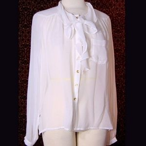 DEMOCRACY white sheer polyester blouse M